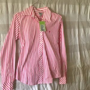 Lilly Pulitzer pink and white stripe shirt
